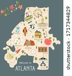 illustrated map of atlanta with ... | Shutterstock .eps vector #1717344829