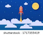red rocket launch in space in... | Shutterstock .eps vector #1717355419