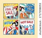 ukiyo e comic style characters... | Shutterstock .eps vector #1717358053