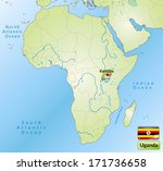 map of uganda with main cities... | Shutterstock . vector #171736658