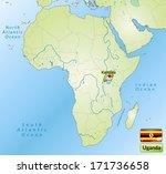map of uganda with main cities... | Shutterstock . vector #171736658