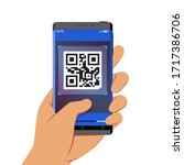 hand holding smartphone with qr ... | Shutterstock .eps vector #1717386706
