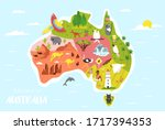 big set of australian animals... | Shutterstock .eps vector #1717394353