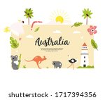 tourist poster with famous... | Shutterstock .eps vector #1717394356