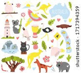 big set of australian animals... | Shutterstock .eps vector #1717394359
