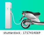 electric scooter charging at... | Shutterstock .eps vector #1717414069