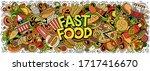 fastfood hand drawn cartoon... | Shutterstock .eps vector #1717416670
