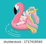swimming unicorn illustration.... | Shutterstock . vector #1717418560