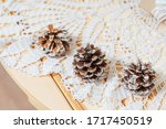 Natural Fir Cones Covered In...