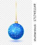 blue glitter christmas ball... | Shutterstock .eps vector #1717451149