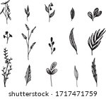 big set of hand drawn floral... | Shutterstock .eps vector #1717471759