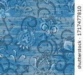 vector denim floral seamless...   Shutterstock .eps vector #1717477810