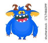 happy cartoon monster. laughing ... | Shutterstock .eps vector #1717486099