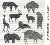 hand drawn animal collection | Shutterstock .eps vector #171751394