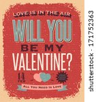 valentines day retro style... | Shutterstock .eps vector #171752363