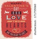 valentines day retro style... | Shutterstock .eps vector #171755060