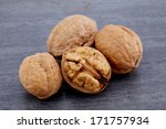 walnuts isolated on gray... | Shutterstock . vector #171757934