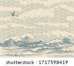 vector decorative seascape in... | Shutterstock .eps vector #1717598419