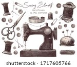 hand drawn vintage sewing kit.... | Shutterstock . vector #1717605766