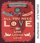 valentines day retro style... | Shutterstock .eps vector #171760733