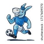cheerful cartoon donkey plays... | Shutterstock .eps vector #1717609570