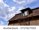Old Destroyed Roof Window With...