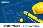 vector tools on blueprint... | Shutterstock .eps vector #1717624369