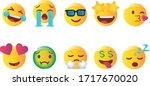 emoji set. joyful  sad and love ...   Shutterstock .eps vector #1717670020