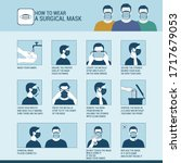 how to wear a surgical mask... | Shutterstock .eps vector #1717679053
