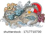 infinity dragon with peony and... | Shutterstock .eps vector #1717710730