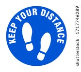keep your distance round floor... | Shutterstock .eps vector #1717746289