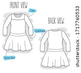 dress sketch. black and white... | Shutterstock .eps vector #1717760533