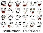 cartoon faces. kawaii cute... | Shutterstock .eps vector #1717767040