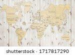world map on boards wallpaper | Shutterstock . vector #1717817290