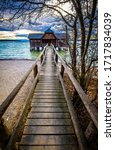 Old Wooden Boathouse At A Lake  ...