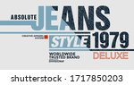 jeans style stylish typography... | Shutterstock .eps vector #1717850203