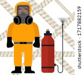 a man in a protective suit ... | Shutterstock .eps vector #1717882159