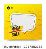mega sale badge. yellow banner... | Shutterstock .eps vector #1717882186