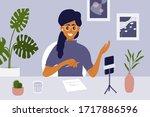 blogger live streaming concept. ... | Shutterstock .eps vector #1717886596