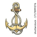 vintage colorful anchor with... | Shutterstock .eps vector #1717899376