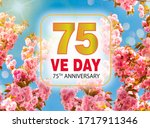 V-E Day 75th Anniversary on against the background of blue sky and flowering tree pink cherry with  sunrays and boke, Victory in Europe Day greeting card