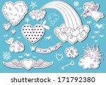 valentine's day doodle sky  ... | Shutterstock .eps vector #171792380