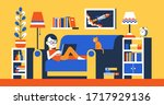 girl with laptop on sofa in... | Shutterstock .eps vector #1717929136