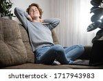 portrait of a girl relaxing on... | Shutterstock . vector #1717943983