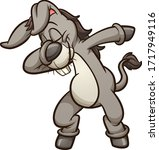 dabbing gray cartoon donkey... | Shutterstock .eps vector #1717949116