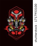 mecha robo design robo power... | Shutterstock . vector #1717953100