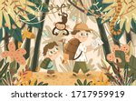 adventures in the jungle and... | Shutterstock .eps vector #1717959919