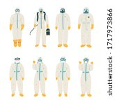 man in protective white suit.... | Shutterstock .eps vector #1717973866