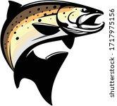 brown trout logo  a unique... | Shutterstock .eps vector #1717975156