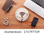 free wifi area sign on a latte... | Shutterstock . vector #171797729